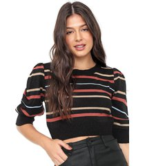 blusa cropped my favorite thing(s) tricot metalizada preta