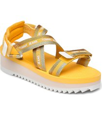 lurex webbing strappy sandal shoes summer shoes flat sandals orange tommy hilfiger