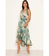 ax paris women's duck egg floral satin wrap frill dress