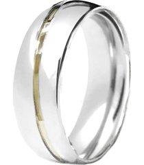 aliança prata mil abaulada diagonal de prata c/ filete de ouro prata