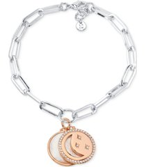 unwritten mother-of-pearl & crystal crescent moon & disc charm bracelet in silver-tone & rose gold-tone