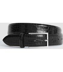 reiss romi - leather croc patterned belt in black, mens, size 36