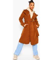 nepwollen trench coat met ceintuur, caramel