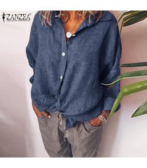 zanzea mujer de manga larga de algodón de lino sólido kaftan señoras de la blusa holgada camiseta top de la camisa -azul