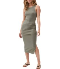 michael stars wren sleeveless side slit knit midi dress, size large in olive at nordstrom