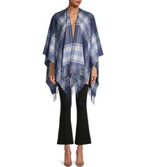 saks fifth avenue women's plaid merino wool cape - denim