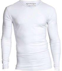 bodyfit t-shirt v-neck l/s white