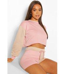 korte colour block lounge sweater, rose