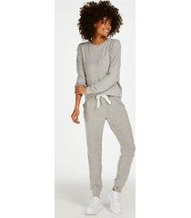 hunkemöller pyjamasbyxor i uppruggad ribbstickning grå