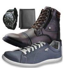 kit bota casual neway café + sapatênis sw chumbo + relógio + carteira slim
