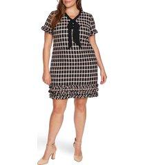 plus size women's cece grid tweed short sleeve a-line dress
