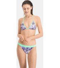 puma swim bikinibroekje met print voor dames, paars/aucun, maat xl
