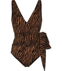 lisa marie fernandez dree louise zebra-print wrap swimsuit - black