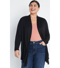 maurices plus size womens black long sleeve open front cardigan