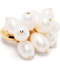 jil sander multi pearl ring - gold