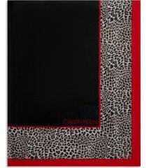 calvin klein leopard-border wrap scarf