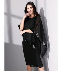 chiffon jurk miamoda zwart