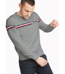 tommy hilfiger men's essential signature stripe sweater sport grey - xxl