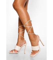 gewatteerde sandalen met stiksels en teenstop, white