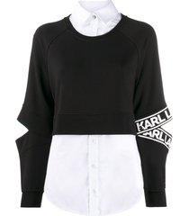 karl lagerfeld poplin-panelled sweatshirt - black