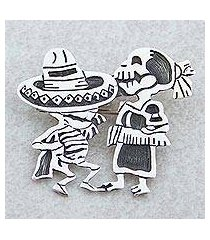sterling silver brooch pendant, 'skeletal hat dance' (mexico)