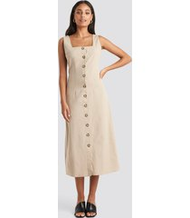 trendyol yol buttoned midi dress - beige