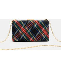 coralie plaid mini hard case clutch in black - black