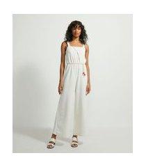 macacão pantalona em algodão transpassado com cinto corda | marfinno | bege | g