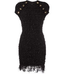 balmain decorative button-detail dress - black