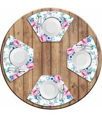jogo americano love decor para mesa redonda wevans floral premium kit com 4 pçs