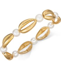 inc gold-tone imitation pearl & shell stretch bracelet, created for macy's