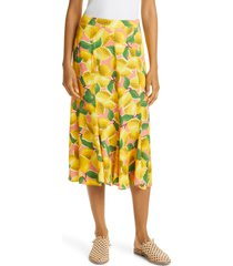 farm rio fresh lemons midi skirt, size medium at nordstrom