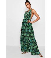 lang maxi-jurk met v-hals en palmprint aan de voorkant, bladgroen