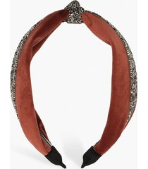 velvet embellished knot top headband, rust