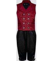 festdräkt med byxor och väst - röd