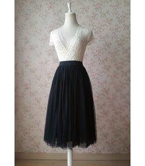 black high waist midi tulle skirt black wedding party skirt plus size tutu skirt