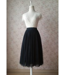 black high waist midi tulle skirt black wedding party skirt plus size tutu skirt