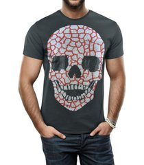 heads or tails men's silver-tone skull graphic printed rhinestone studded t-shirt