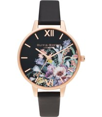 olivia burton women's enchanted garden black vegan leather strap watch, 34mm