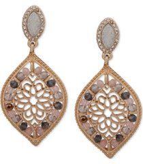 lonna & lilly gold-tone crystal & bead filigree drop earrings