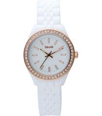 orologio cinturino policarbonato bianco, ghiera oro rosa e strass per donna
