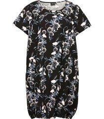 dress plus cotton short sleeves print kort klänning svart zizzi