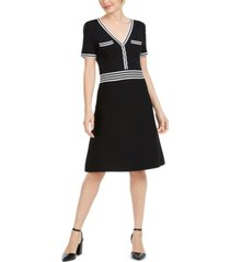karl lagerfeld striped-trim sweater dress