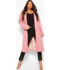 lang wollook longline jas met zakdetail, roze