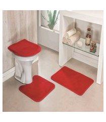 kit tapete de banheiro liso 3 peças antiderrapante vermelho