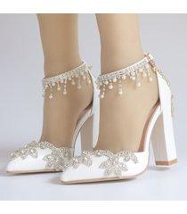 zapatos de novia de tacón alto con flecos sandalias de strass para mujer zapatos de boda