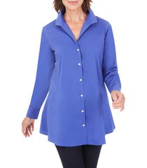 petite women's foxcroft cecelia non-iron button-up tunic shirt, size 14p - purple