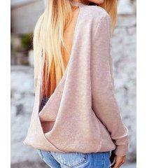 suéter de manga larga con cuello redondo y diseño cruzado sin espalda