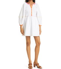 women's staud mini demi long sleeve stretch cotton woven dress, size x-small - white