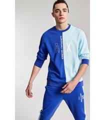 ax armani exchange men's regular-fit colorblocked logo-print sweatshirt, created for macy's